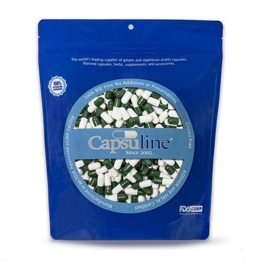 Colored Size 0 Empty Gelatin Capsules by Capsuline - Green/White