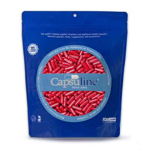 Colored Size 0 Empty Gelatin Capsules by Capsuline - Red/Red