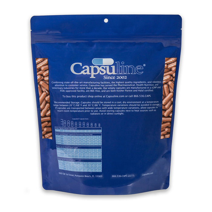 Colored Size 0 Empty Vegetarian Capsules by Capsuline - Brown/Brown