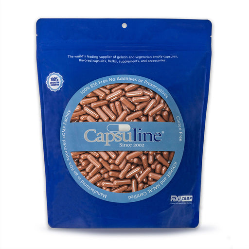 Capsuline Coffee Flavored Empty Gelatin Capsules Size 0 Brown/Brown