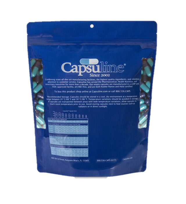 Colored Size 4 Empty Gelatin Capsules by Capsuline - Blue/Blue