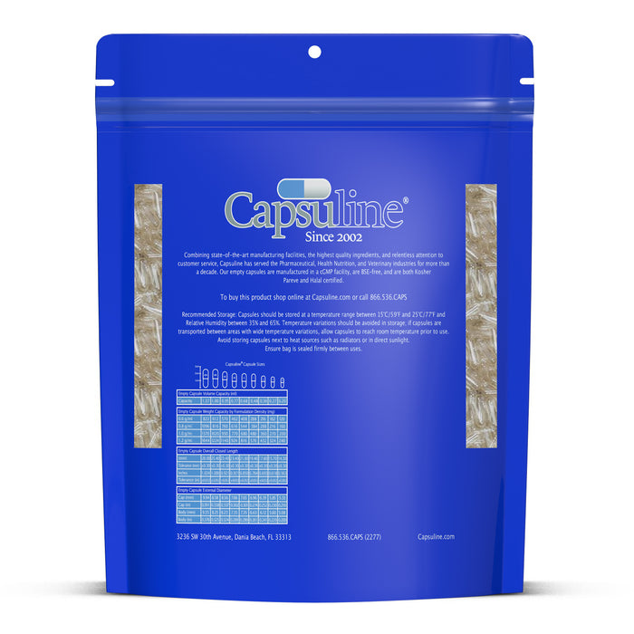 Clear Size 00 Empty Gelatin Capsules by Capsuline