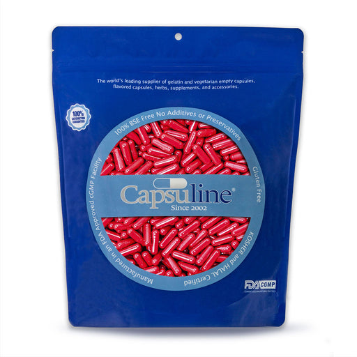 Colored Size 00 Empty Gelatin Capsules by Capsuline - Red/Red