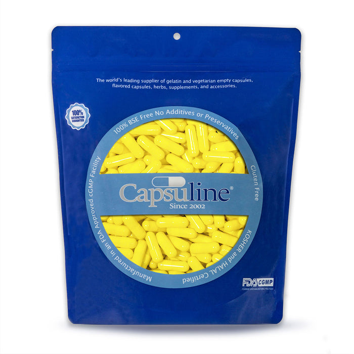Colored Size 2 Empty Gelatin Capsules by Capsuline - Yellow/Yellow