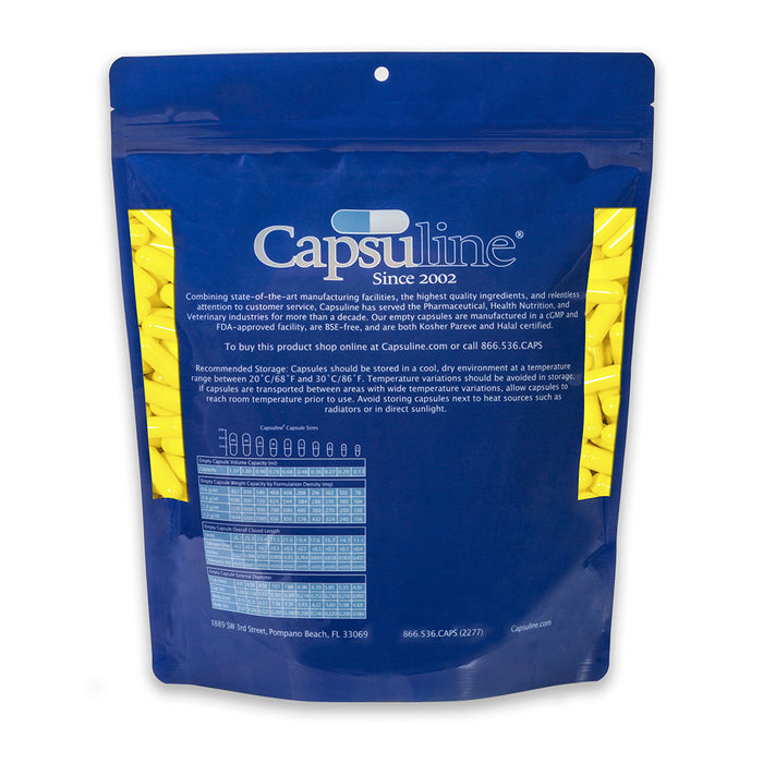 Colored Size 0 Empty Gelatin Capsules by Capsuline - Yellow/Yellow