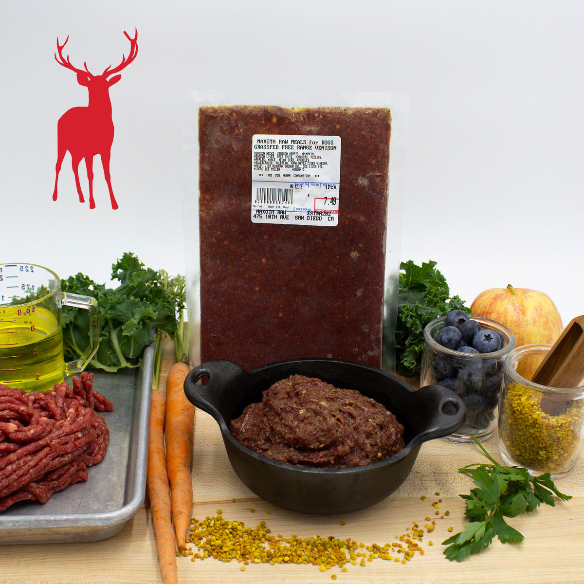 Maxota Raw Dog Food: Hand-Crafted in San Diego - Venison Recipe