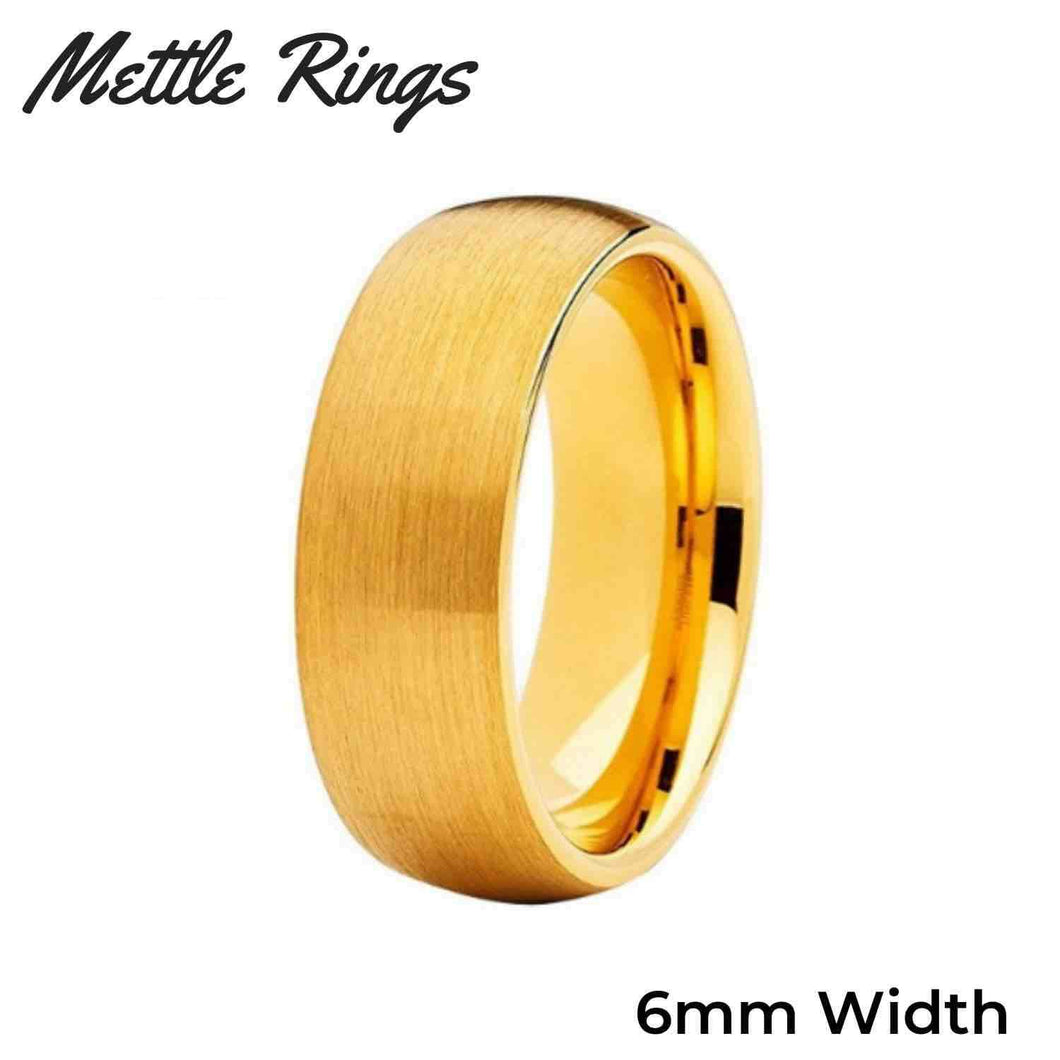 Dumbledore Gold 6mm Tungsten Carbide Mens Wedding Ring