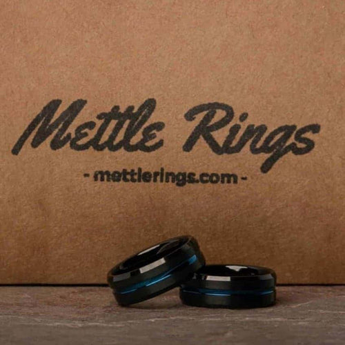 Bombay Black and Blue Tungsten Carbide Mens Wedding Ring from MettleRings.com