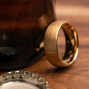 Dumbledore Gold 8mm or 6mm Width Mens Wedding Ring from Mettle Rings