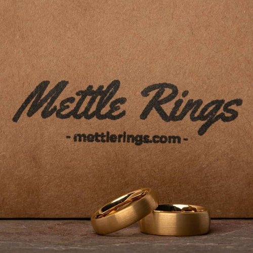 Dumbledore Gold Tungsten Carbide Men Wedding Ring from MettleRings.com