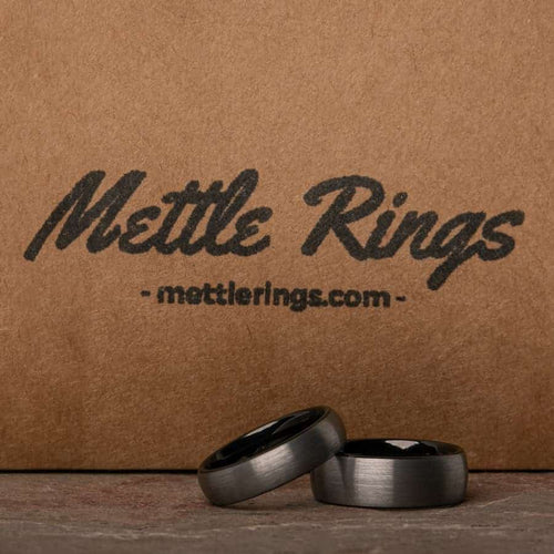 Fantana Silver and Black Tungsten Carbide Men Wedding Ring from MettleRings.com