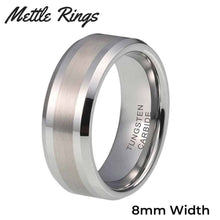 Morpheus Silver 8mm Tungsten Carbide Mens Wedding Ring