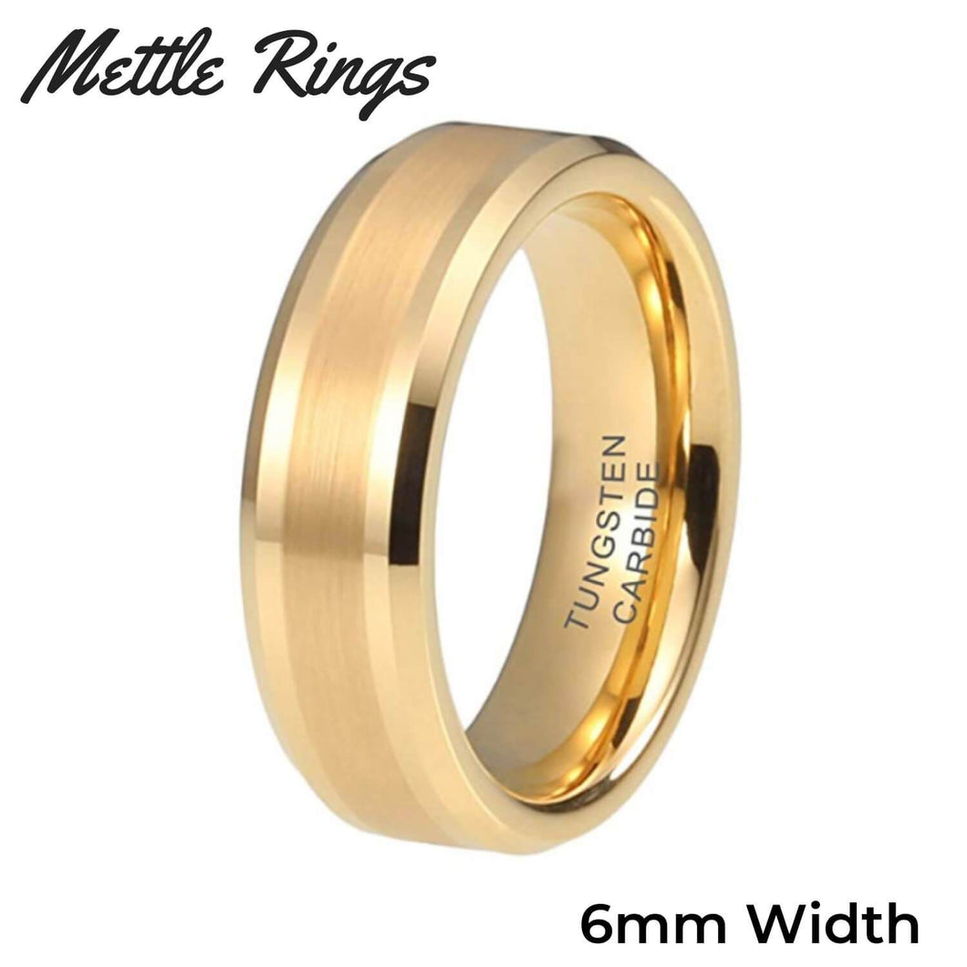 Morpheus Gold 6mm Tungsten Carbide Mens Wedding Ring