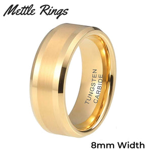 Morpheus Gold 8mm Tungsten Carbide Mens Wedding Ring