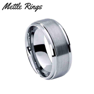 Neo Silver 8mm Tungsten Carbide Mens Wedding Ring