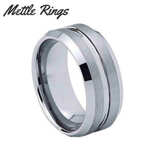 Walker Silver 8mm Tungsten Carbide Mens Wedding Ring