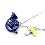 Blue French Horn and Yellow Umbrella Necklace - Seen On The Screen - TV and Movie Clothing
