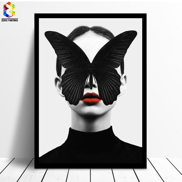 Butterfly Black and White Wall Print