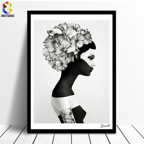 Lady Flowers Black Print