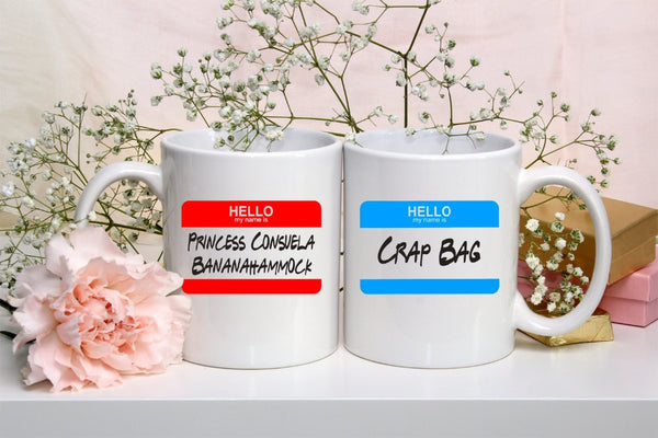 Crap Bag and Princess Consuela Bananahammock Mugs - Seen On The Screen - TV and Movie Clothing