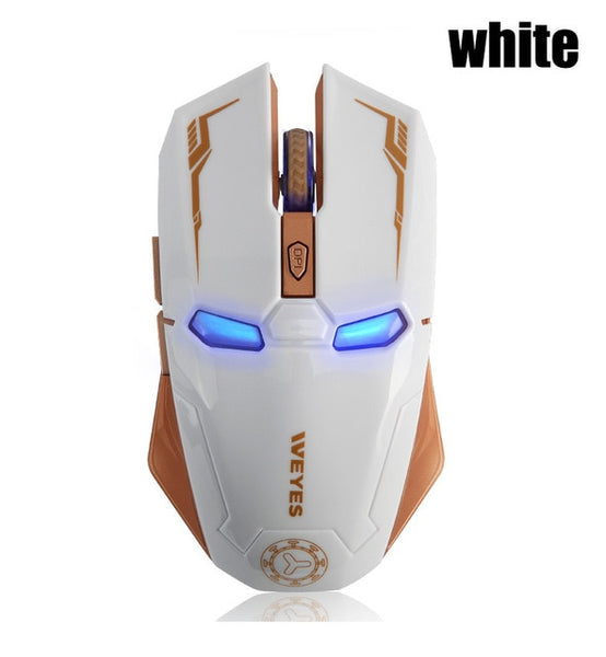 6 Button Wireless Iron Man Gaming Mouse White Mouse