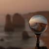 Lensball Australia - Brushed Gold Lensball Stand with shot of 12 Apostles