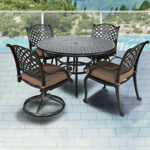 Stonegate Cast Aluminum Cushioned Patio Dining Sets