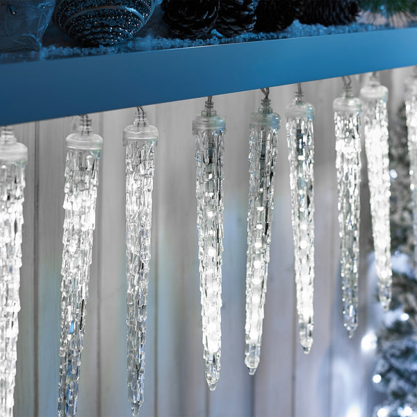 Set Of 100 Twinkle Led Icicle Drop Lights Holiday Icicle