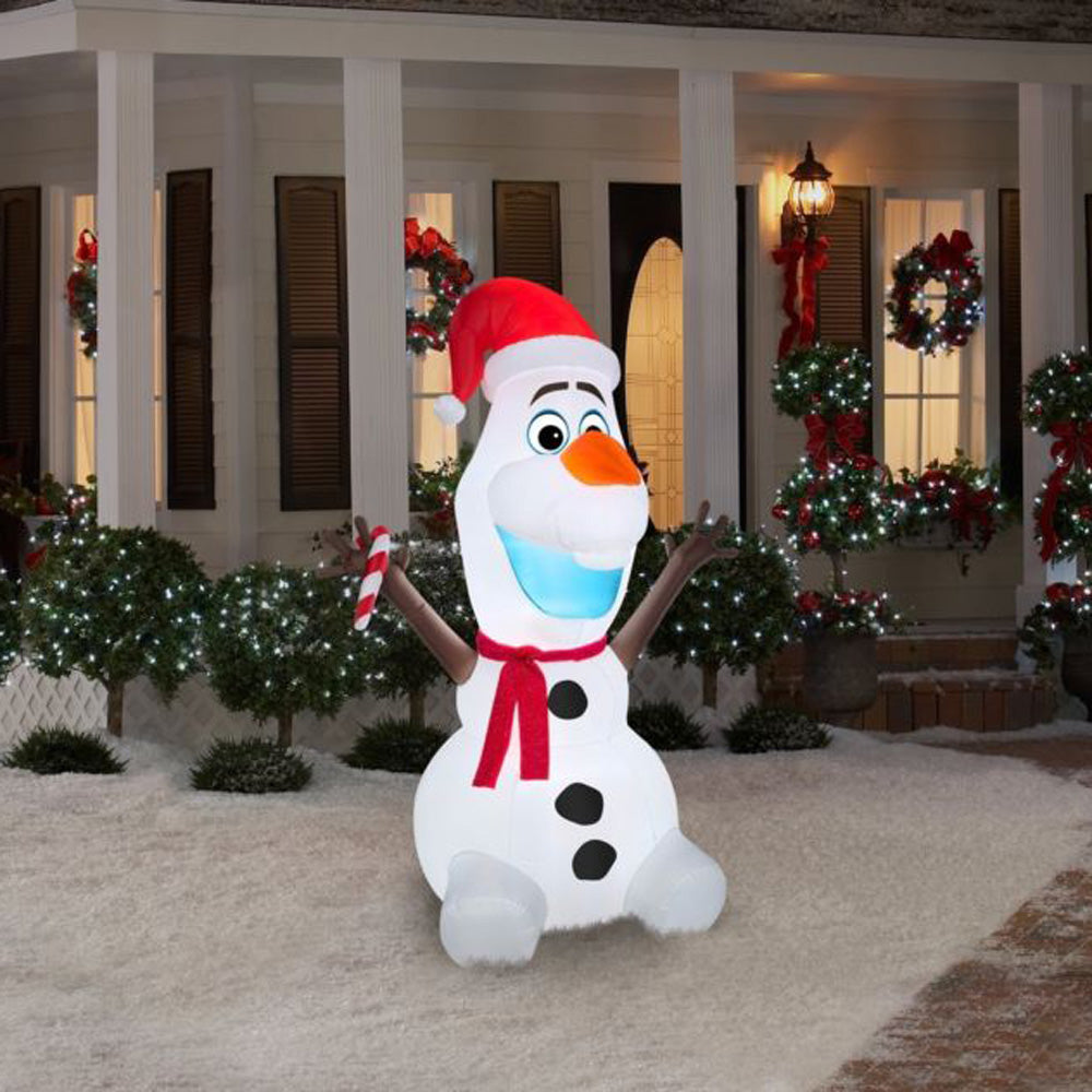 Gemmy Airblown® Inflatable Olaf with Scarf and Candy Cane | Gemmy ...