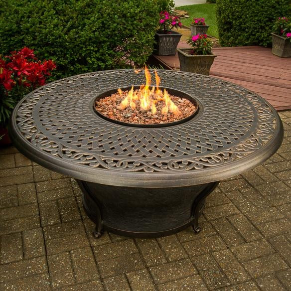Concord Round Woven Cast Top Gas Fire Pit Table