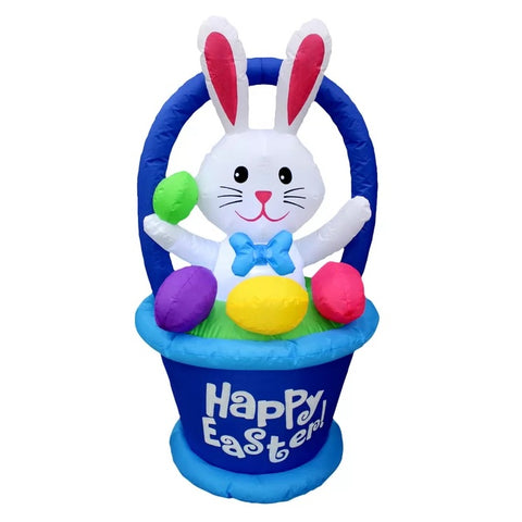 4' Air Inflatable Bunny in Happy Easter Basket