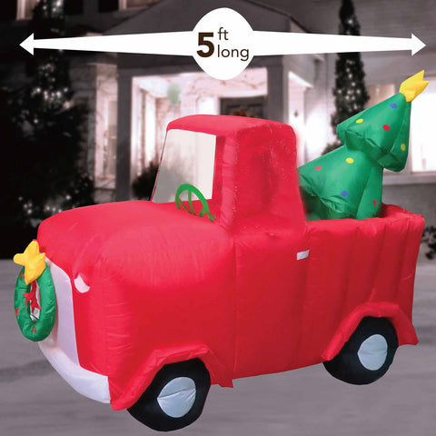 4' Air Inflatable Red Truck Carrying Christmas Tree