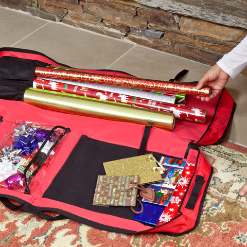 Picture of opened red gift wrap organizer