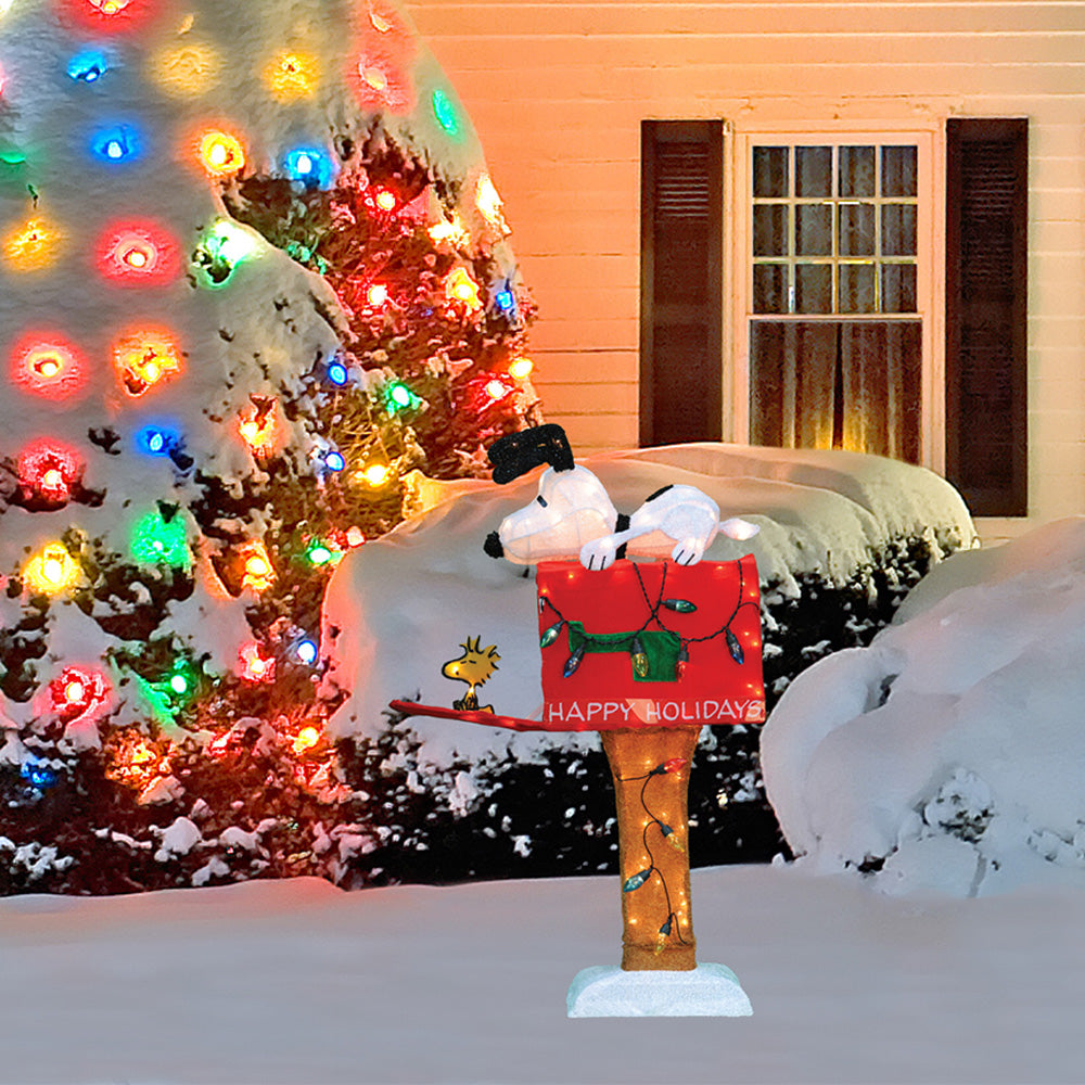 36 lighted animated soft tinsel snoopy on mailbox sculpture