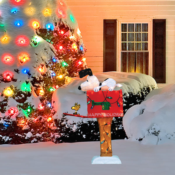 36 Quot Lighted Amp Animated Snoopy On Mailbox Sculpture