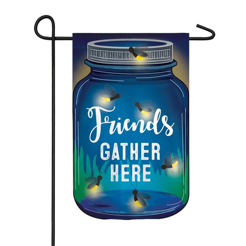 "Firefly ""Friends Gather Here"" Solar LED Applique Garden Flag"