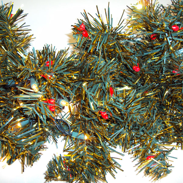 Artificial Christmas Garland.9 Pre Lit Artificial Christmas Green Gold Garland With Red Berries
