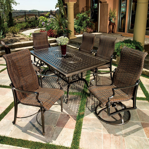Bel Air Cast Aluminum Woven Patio Dining Sets