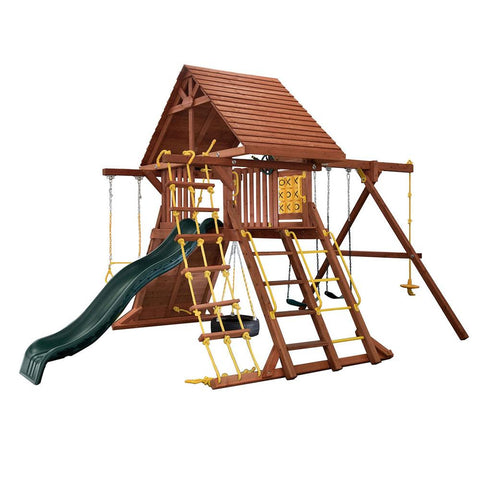 Backyard - Grant Park Wooden Playcenter With Wood Roof