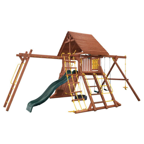 Backyard - Grant Park Wooden Playcenter With Wood Roof & Monkey Bars