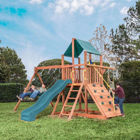 Backyard - Lake Park Wooden Playcenter With Green Tarp
