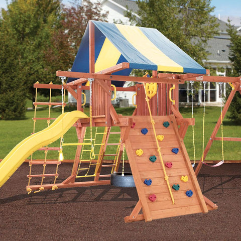 Backyard - Oak Park Wooden Playcenter With Multi-Color Tarp