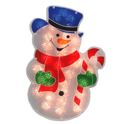 "Christmas - 18"" Double Sided Glazed Snowman With Candy Cane Lighted Window Decoration"