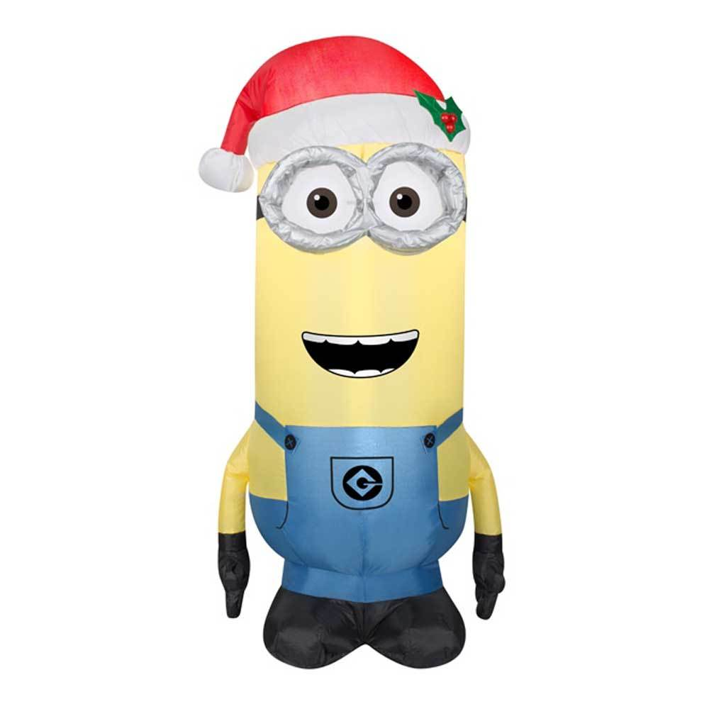 3.5\' Airblown® Inflatable Minion Kevin Wearing Santa Hat by Gemmy 80485