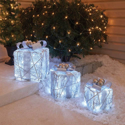3 Piece 3D LED Lighted Twinkling Gift Boxes | Holiday Gift Box Decor | Cool White Gift Boxes
