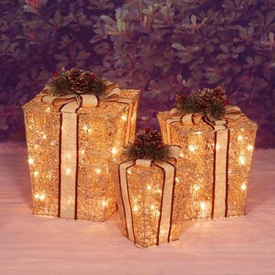 Christmas - 3 Piece Lighted Glittering Champagne Gift Box Sculptures