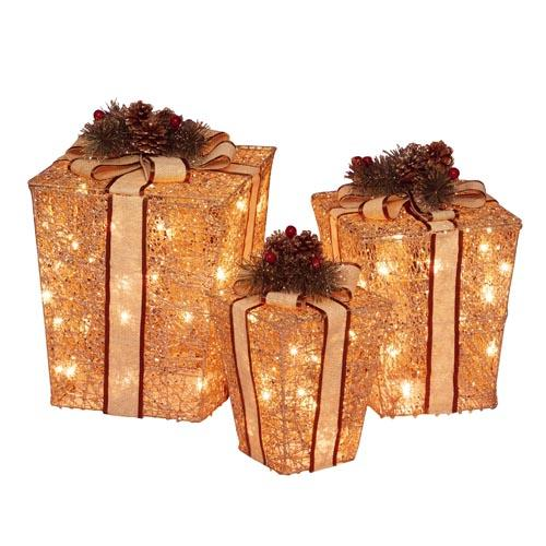 Lighted Christmas Decorations 3 Piece Lighted Glittering