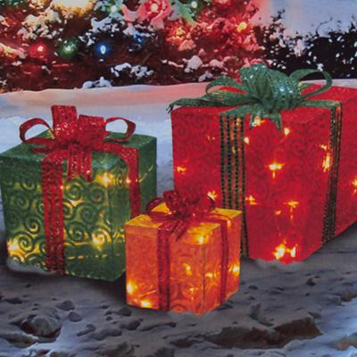 3 piece lighted glittering swirl fabric presents