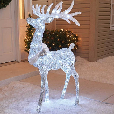 "Christmas - 48"" 3D LED Lighted Twinkling Standing Buck Sculpture"