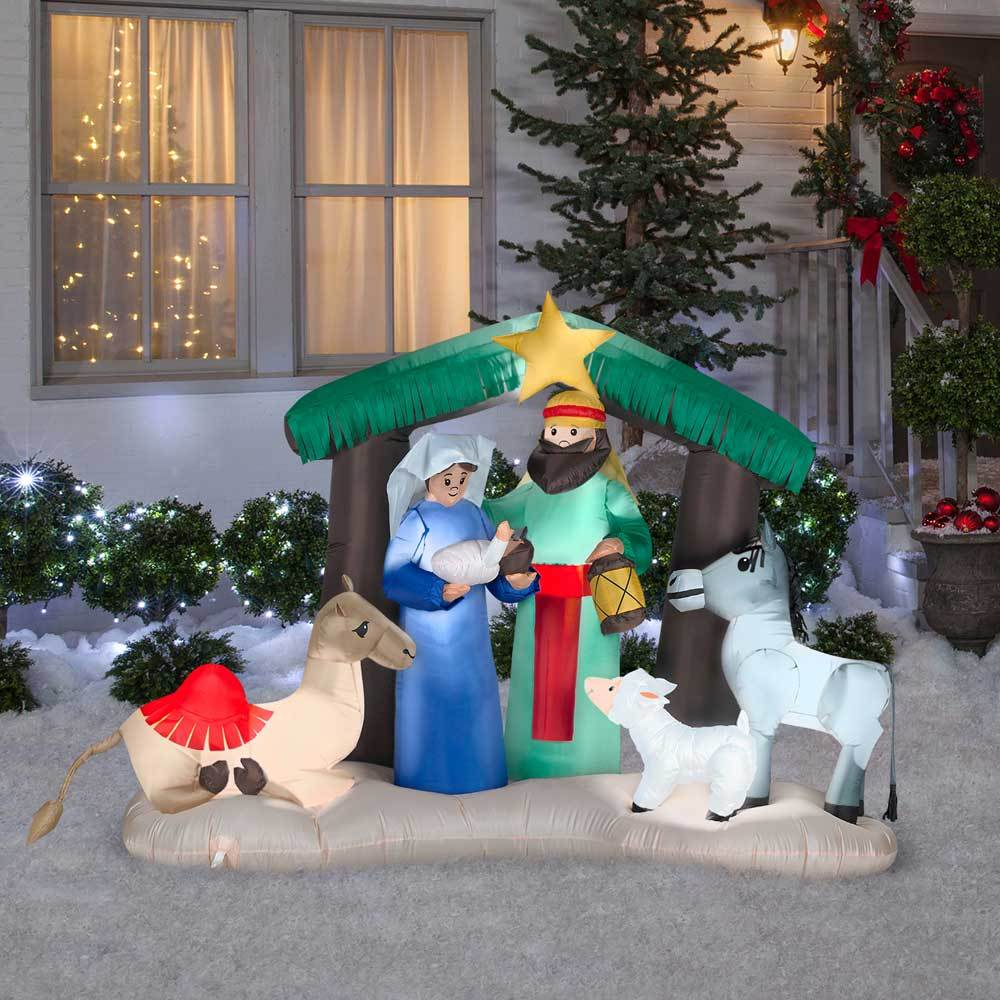 best service 2f0c2 5f736 Details about Christmas Outdoor 5' Airblown Inflatable Lighted Nativity  Scene Figures